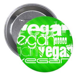 Vegan; Neon Green Stripes 3 Inch Round Button