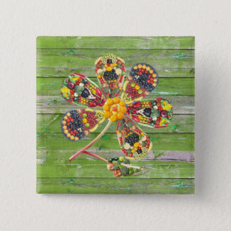VEGAN PowerFlower Green Wall Wood 15 Cm Square Badge