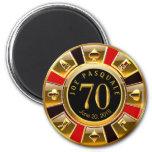 Vegas Casino Chip 70th Birthday   red gold black 6 Cm Round Magnet