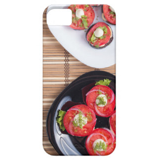 Vegetarian dish of stewed eggplant and fresh tomat iPhone 5 cases