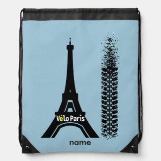 Velo Paris Bicycle Eiffel Tower Drawstring Bag