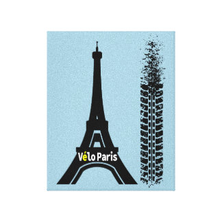 Velo Paris Bike Eiffel Tower Canvas Print