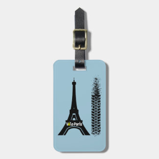 Velo Paris Bike Eiffel Tower Luggage Tag