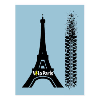 Velo Paris Bike Eiffel Tower Postcard