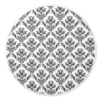 Venetian Damask, Damask Pattern - Black White Ceramic Knob