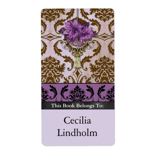 VENEZIA POINSETTIA in Brown and Lilac Shipping Label