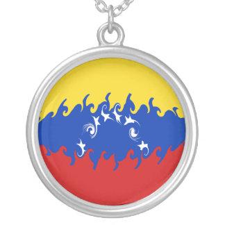 Venezuela Gnarly Flag Round Pendant Necklace