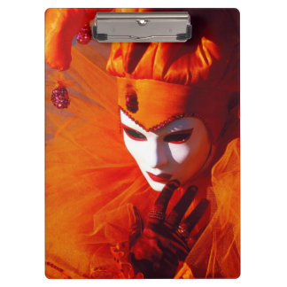 Venice, Italy (IT) - Orange Carnival Costume Clipboard