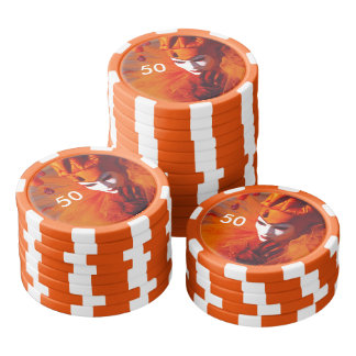 Venice, Italy (IT) - Orange Carnival Costume Poker Chips