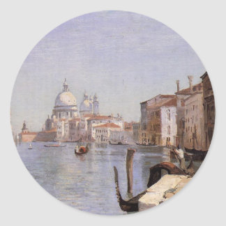 Venice - View of Campo della Carita looking ... Classic Round Sticker