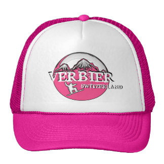 Verbier Switzerland pink theme snowboard hat