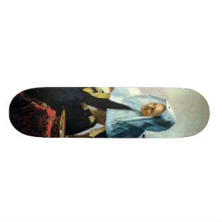 Vermeer s Young Woman with a Water Pitcher ca 1665 Skate Board Deck