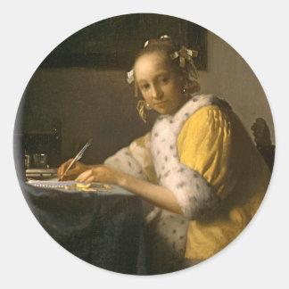 Vermeer's Letter Writer Classic Round Sticker