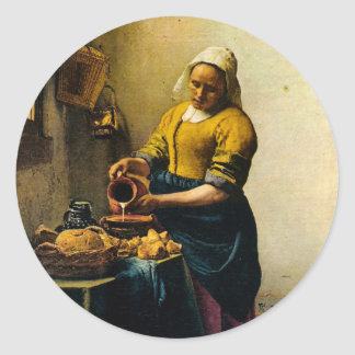 Vermeer's Maidservant Pouring Milk (circa 1660) Classic Round Sticker