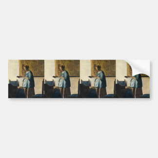 Vermeer's Woman in Blue Reading a Letter ca.1665 Bumper Sticker