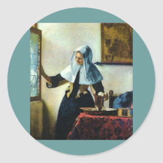 Vermeer's Young Woman with a Water Pitcher ca 1665 Classic Round Sticker