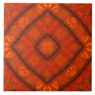 """Vermilion """"Inflatable-Silk"""" Diamond-Mandala Tile"""