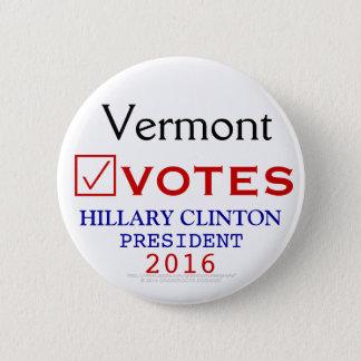 Vermont Votes Hillary Clinton President 2016 6 Cm Round Badge