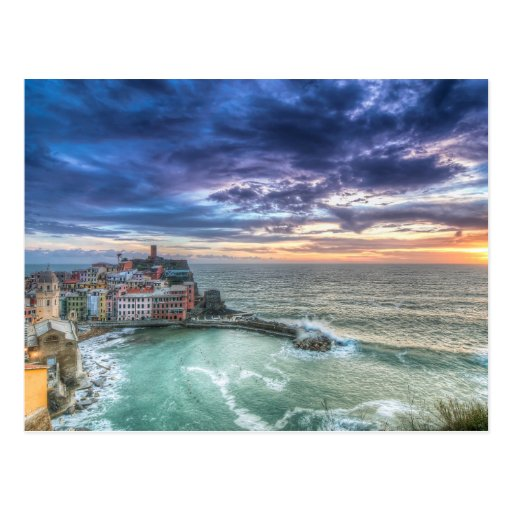 Vernazza at sunset, Italy Postcards
