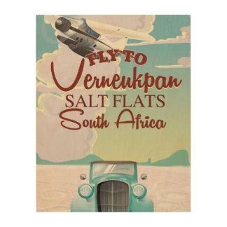Verneukpan Salt Flats South Africa travel poster Wood Print