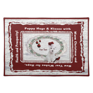 Version Two of Our Westie Puppy Cotton Place Mat