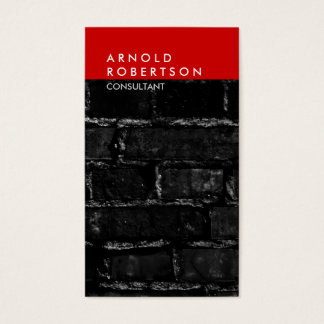Vertical Gray Red Wall Brick Trendy Business Card