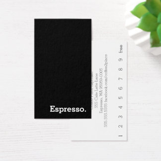 Vertical Simple Dark Loyalty Espresso Punch-Card Business Card
