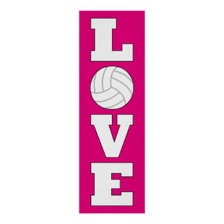 Vertical Volleyball Love Custom Color Poster