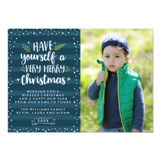 Very Merry Christmas | Navy Stripes Photo Card