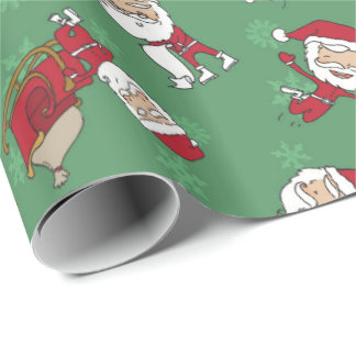 Very Merry Skinny Santa Gift Wrap Metallic Green