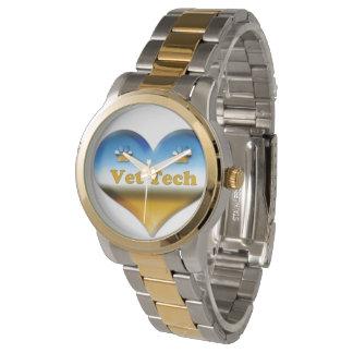 vet tech silver gold watch