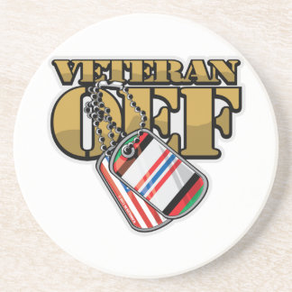 Veteran OEF Dog Tags Coaster