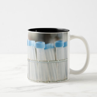 Vials in research lab Two-Tone coffee mug
