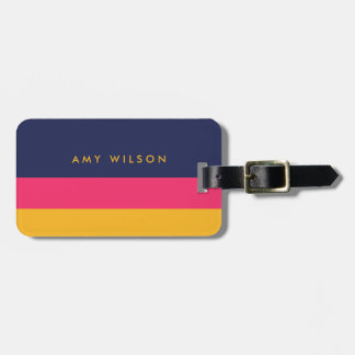 Vibrant Color Block Blue, Pink and Yellow Luggage Tag