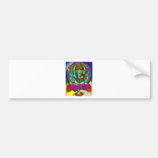 Vibrant Colorful Ganesh Painting Bumper Sticker