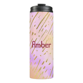 Vibrant Colorful Gold and Pink Thermal Tumbler