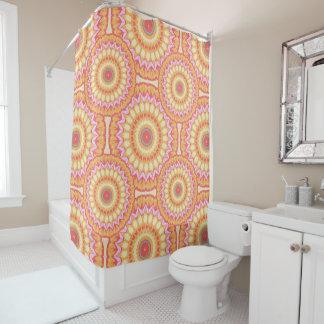 Vibrant Colorful Orange and Pink Mandala Design Shower Curtain