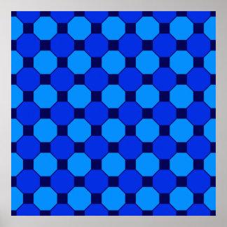 Vibrant Cool Blue Squares Hexagons Tile Pattern Poster