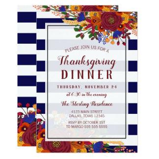Vibrant Fall Bouquet Thanksgiving Dinner Card