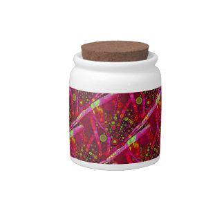 Vibrant Hot Pink Concentric Circle Mosaic Candy Jars