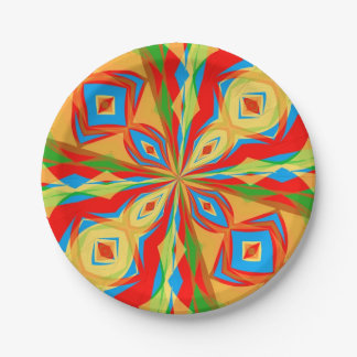 Vibrant Kaleidoscope Design on Paper Plates