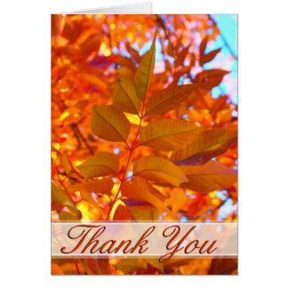 Vibrant Orange and Gold Autumn Leaves Thank You Note Card