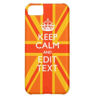 Vibrant Orange Keep Calm Your Text Union Jack iPhone 5C Case