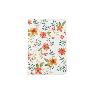 Vibrant Orange, Yellow, and Red Floral Pattern Passport Holder