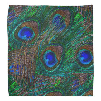 Vibrant Peacock Feathers Etching Style Decor Kerchief