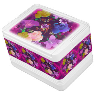 Vibrant Pink Abstract Floral 12 Can Igloo Cooler Chilly Bin