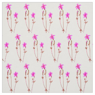 Vibrant Pink Flower Vintage Pattern Fabric