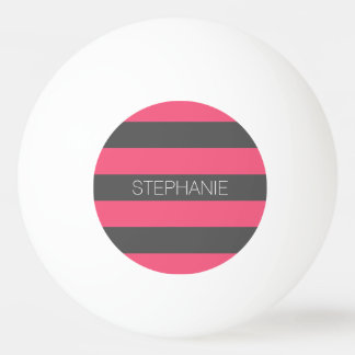 Vibrant Pink & Grey Rugby Stripes with Custom Name Ping Pong Ball