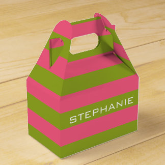 Vibrant Pink & Lime Rugby Stripes with Custom Name Wedding Favour Box