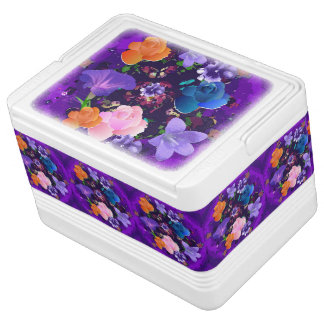 Vibrant Purple Abstract Floral 12 Can Igloo Cooler Chilly Bin